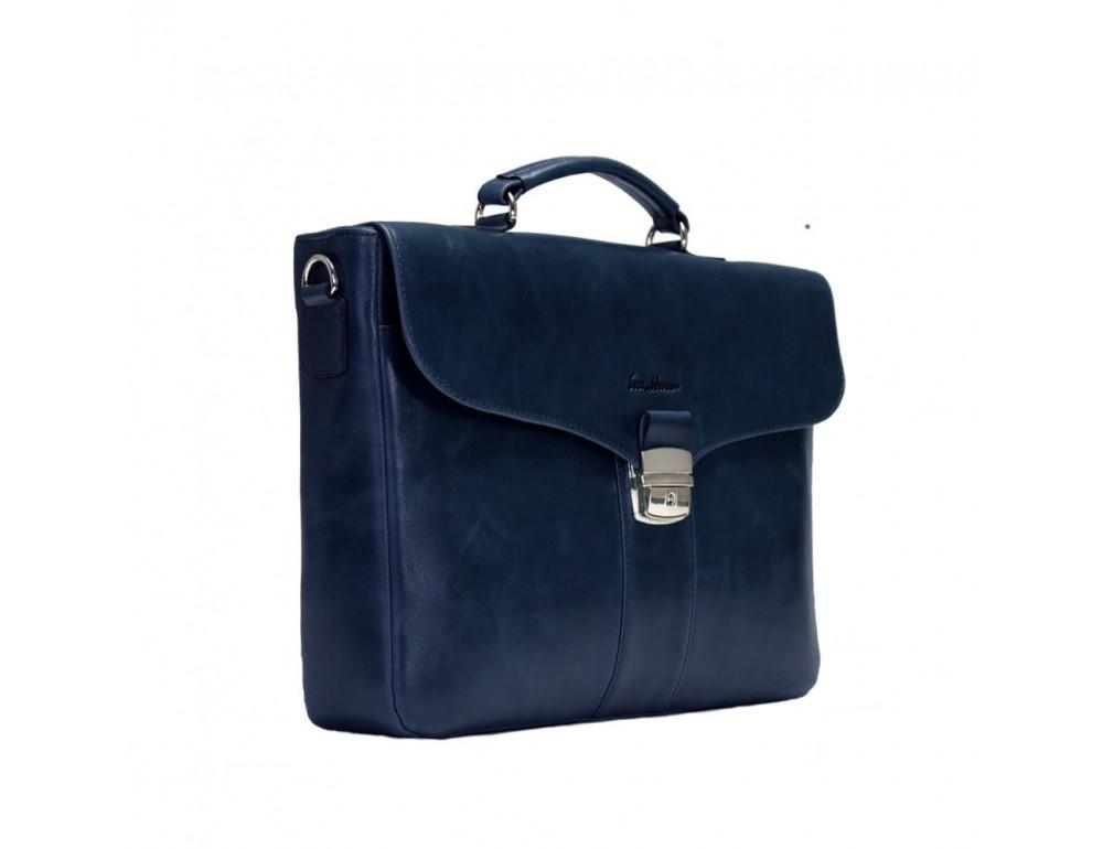 Мужской кожаный портфель с клапаном Issa Hara b35Bl синий - Фото № 4
