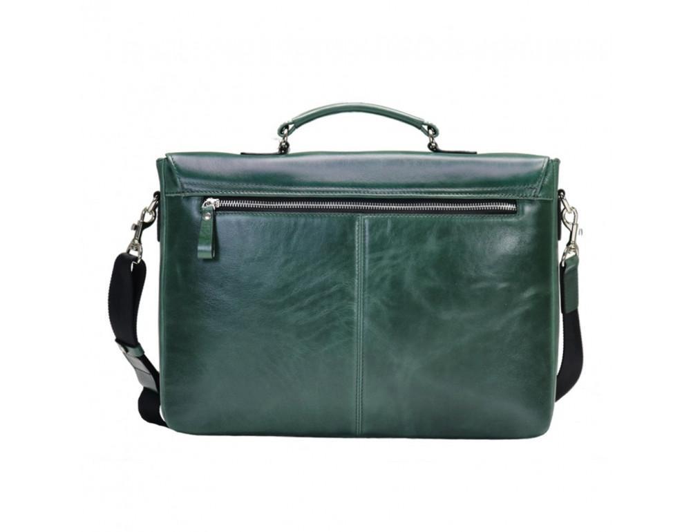 Мужской кожаный портфель с клапаном Issa Hara b35iz зелёный - Фото № 2