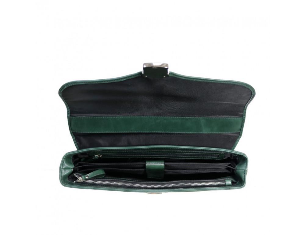 Мужской кожаный портфель с клапаном Issa Hara b35iz зелёный - Фото № 3