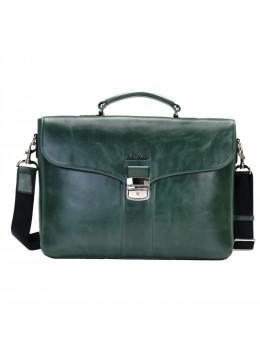 Мужской кожаный портфель с клапаном Issa Hara b35iz зелёный