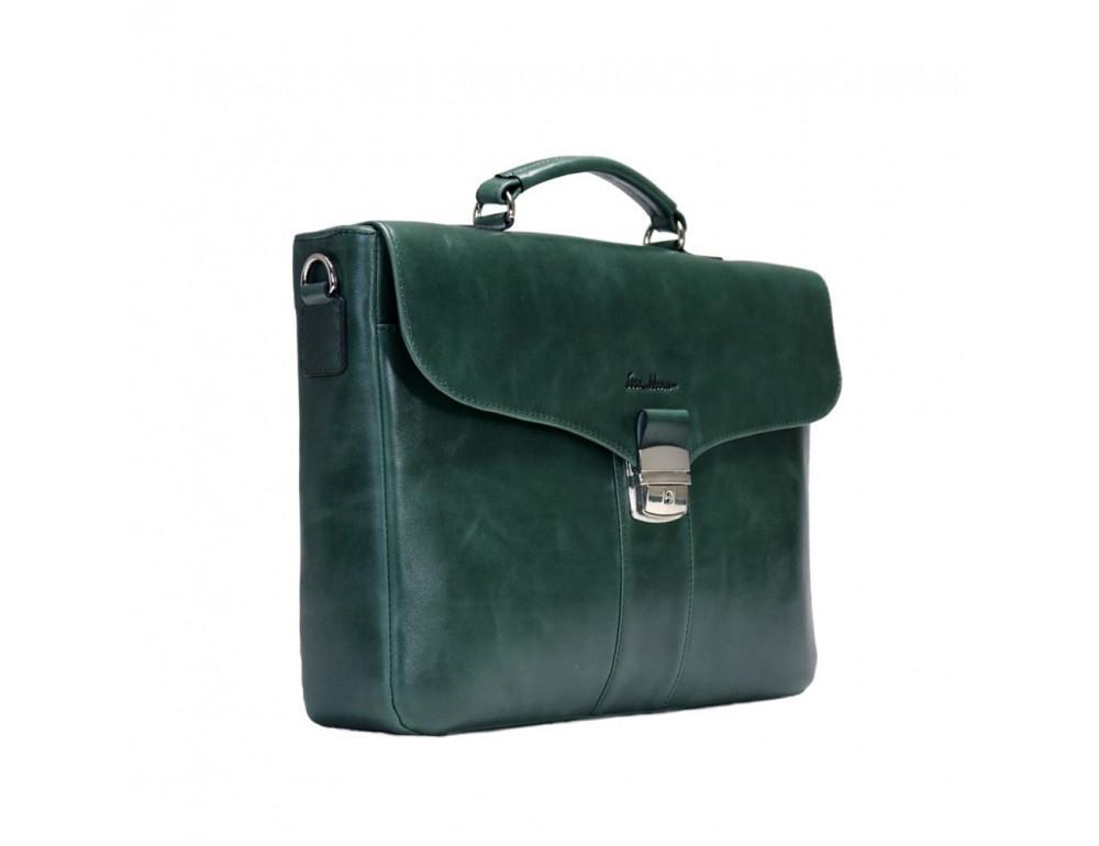 Мужской кожаный портфель с клапаном Issa Hara b35iz зелёный - Фото № 4