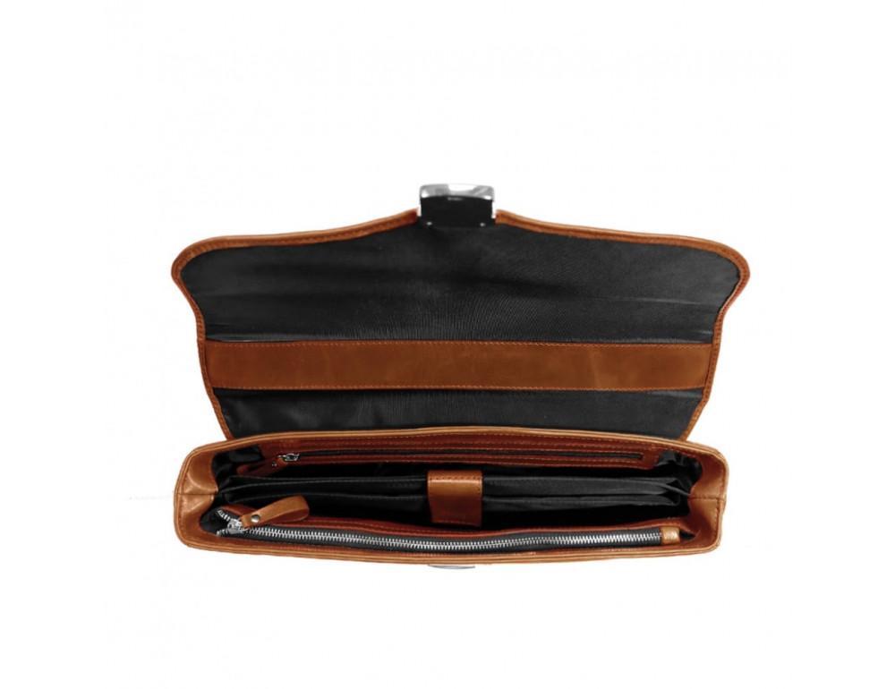 Мужской кожаный портфель с клапаном Issa Hara B35C коричневый - Фото № 3