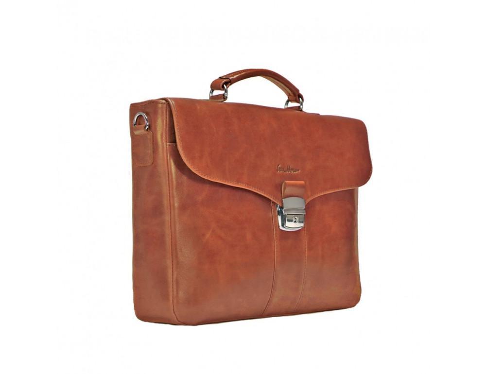 Мужской кожаный портфель с клапаном Issa Hara B35C коричневый - Фото № 4