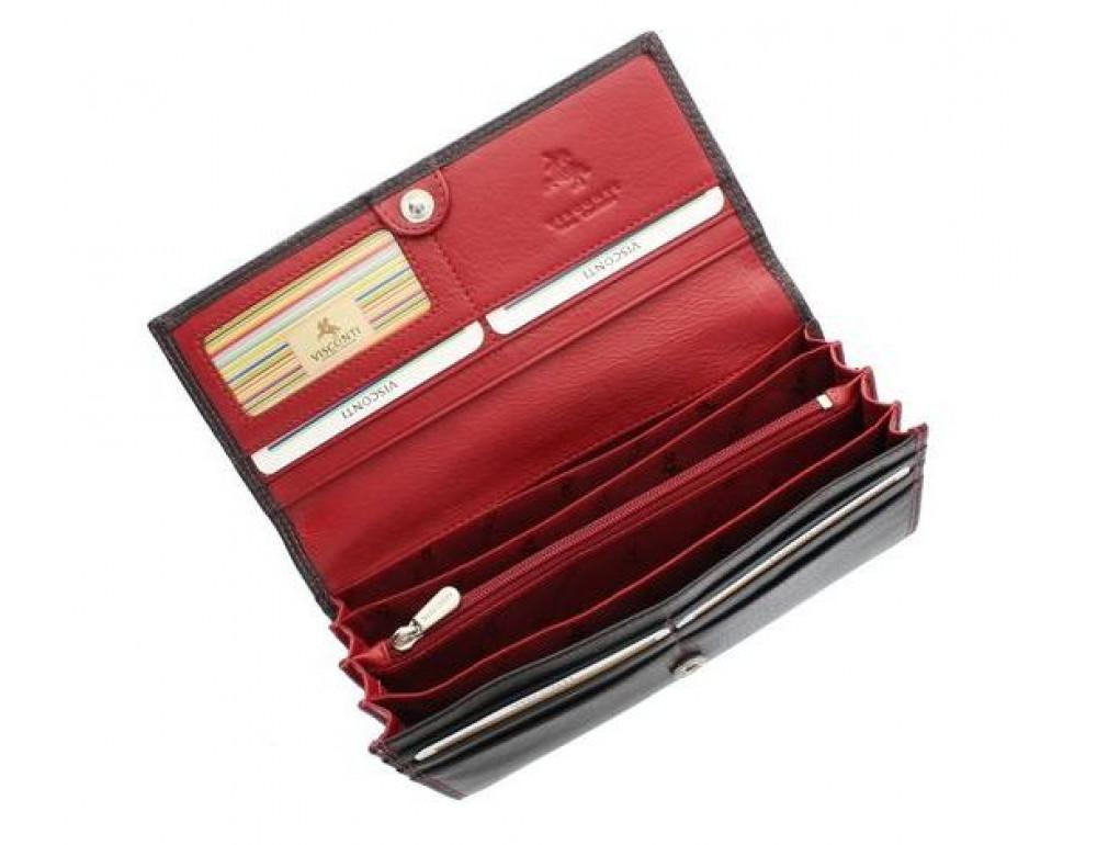 Женский кожаный кошелек VISCONTI CD21 BLK/RED черный с красным - Фото № 5