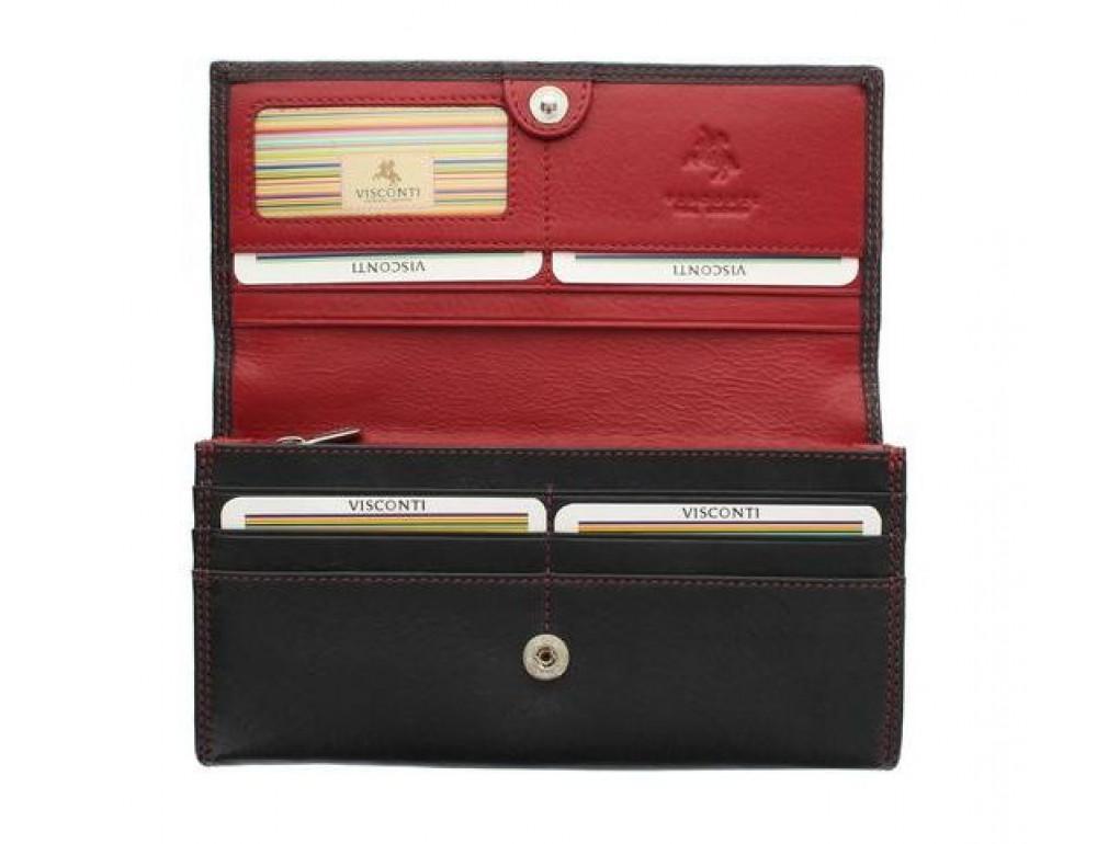 Женский кожаный кошелек VISCONTI CD21 BLK/RED черный с красным - Фото № 2