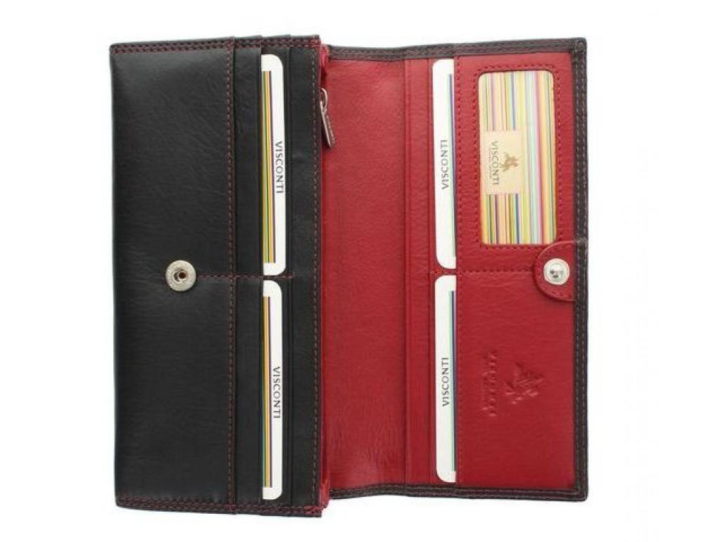 Женский кожаный кошелек VISCONTI CD21 BLK/RED черный с красным - Фото № 4