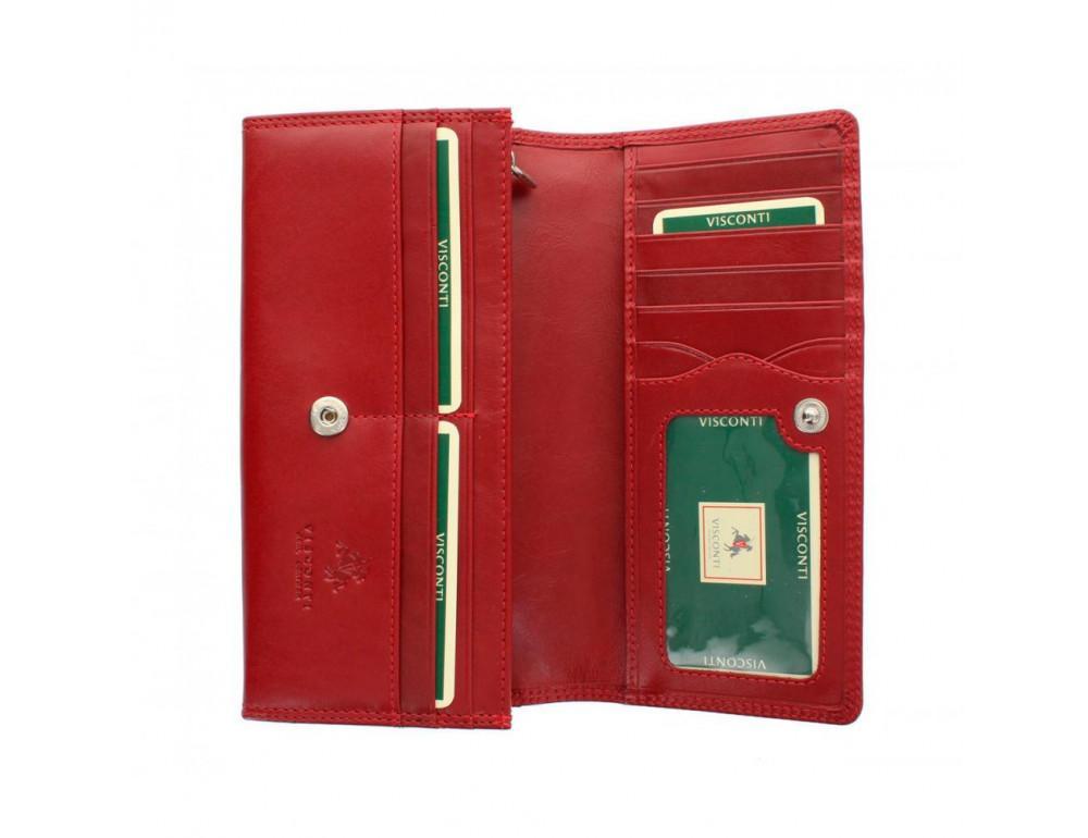 Женский кожаный кошелек VISCONTI MZ10 IT RED красный - Фото № 1