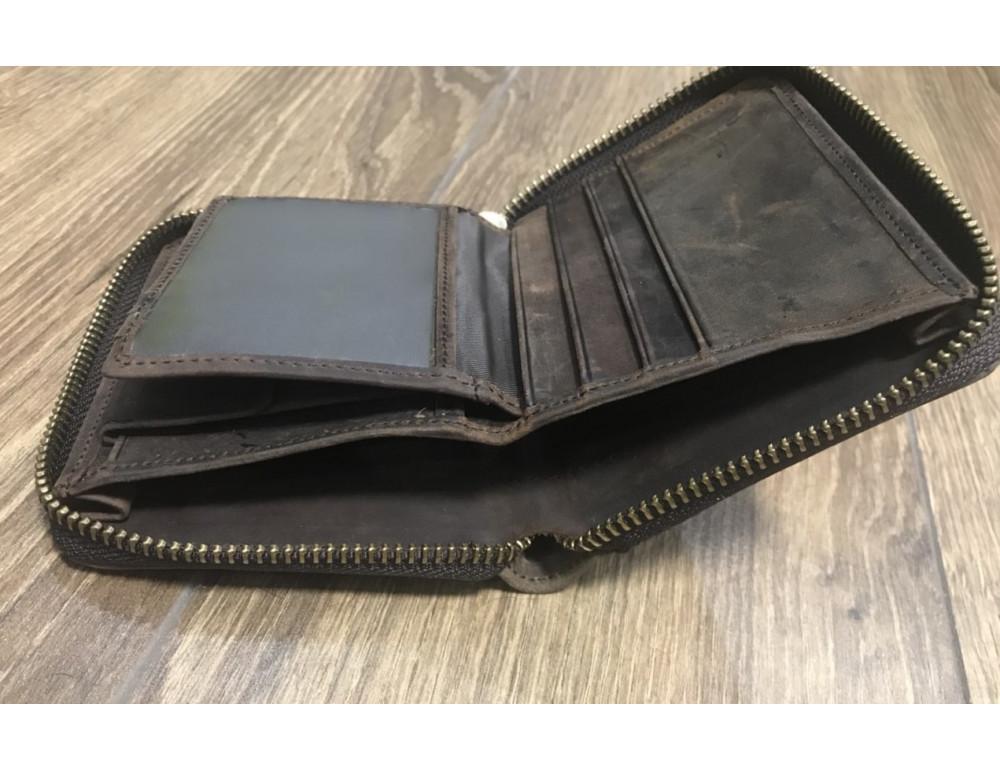 Кожаный кошелёк S.J.D. R-1007C темно-коричневый - Фото № 4