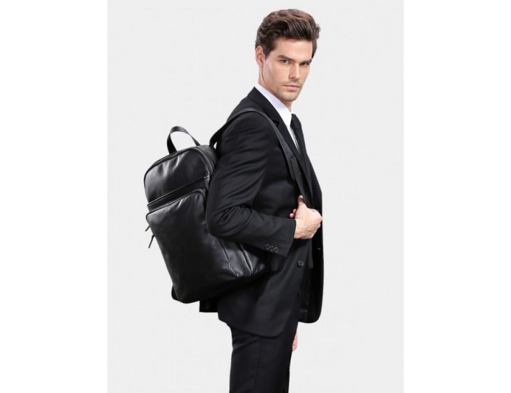 Мужской кожаный рюкзак Tiding Bag B3-2331A черный - Фото № 2