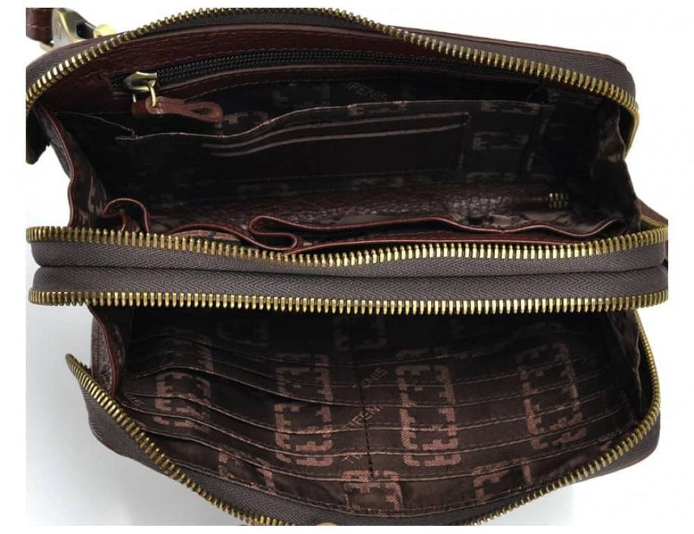 Кожаный мужской клатч Tifenis Tf69147C коричневый - Фото № 2