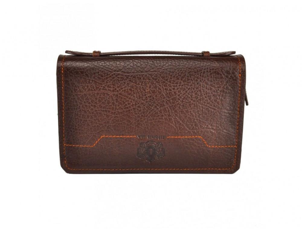 Кожаный мужской клатч Tifenis Tf69147C коричневый - Фото № 3