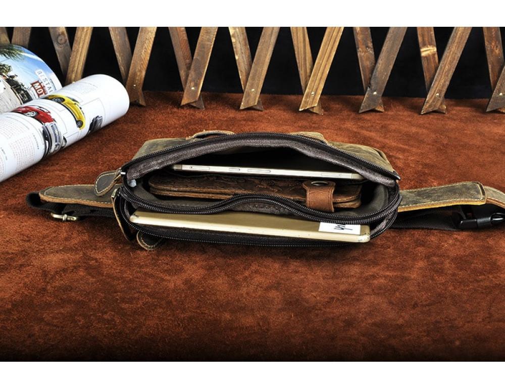Мужская кожаная бананка Bexhill bx2100C коричневая - Фото № 10