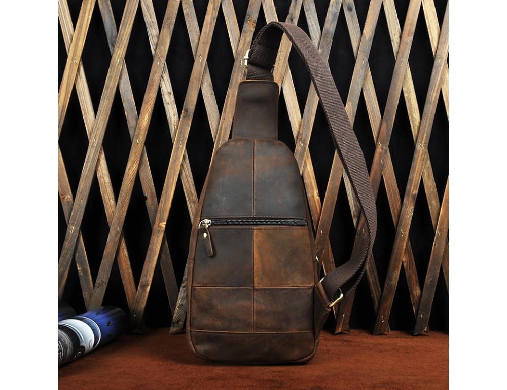 Мужская сумка на плечо Tiding Bag M37-XB010C Коричневая - Фото № 7