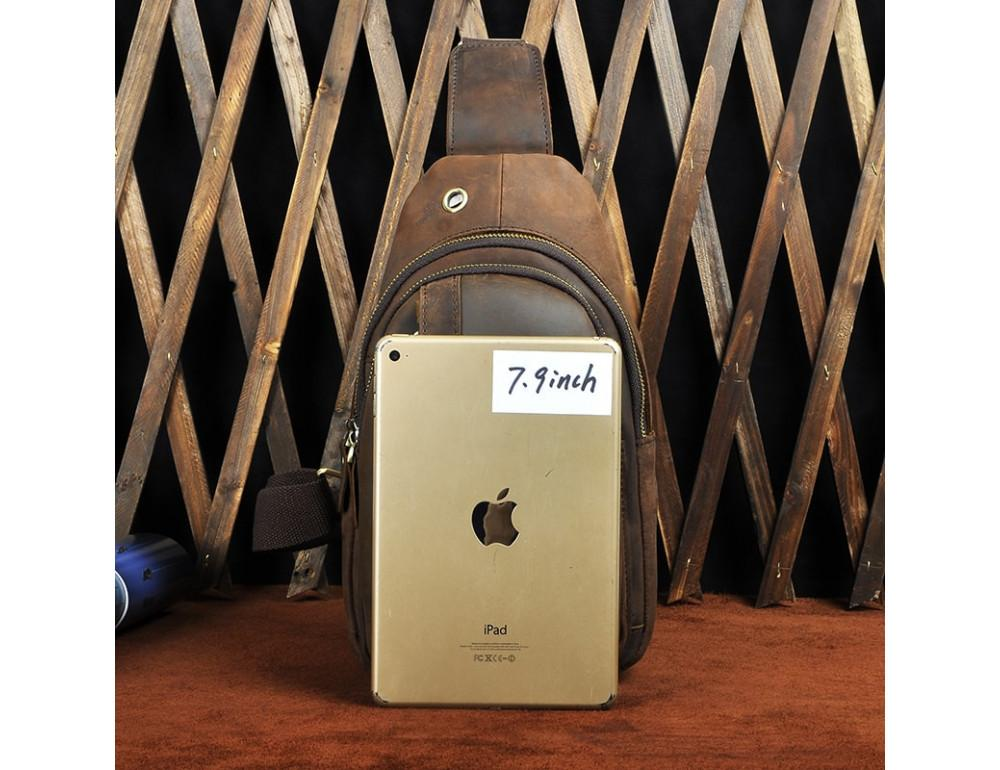 Мужская сумка на плечо Tiding Bag M37-XB010C Коричневая - Фото № 8