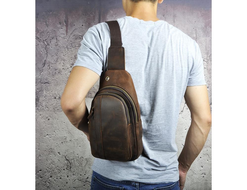 Мужская сумка на плечо Tiding Bag M37-XB010C Коричневая - Фото № 3