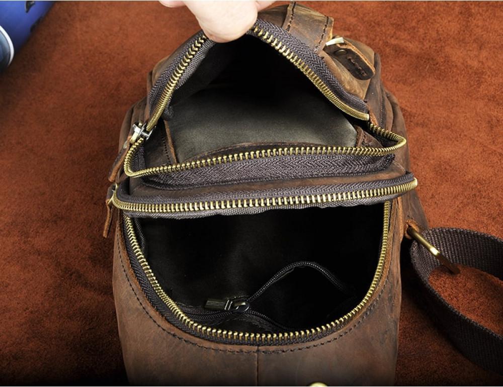 Мужская сумка на плечо Tiding Bag M37-XB010C Коричневая - Фото № 4