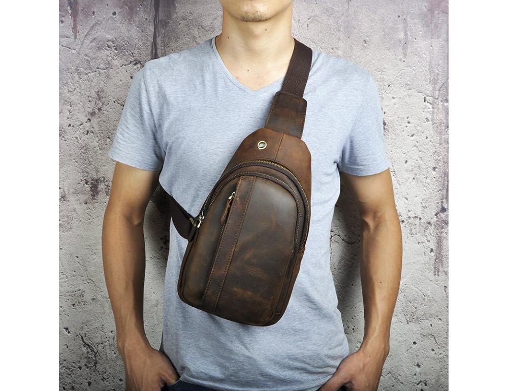 Мужская сумка на плечо Tiding Bag M37-XB010C Коричневая - Фото № 5