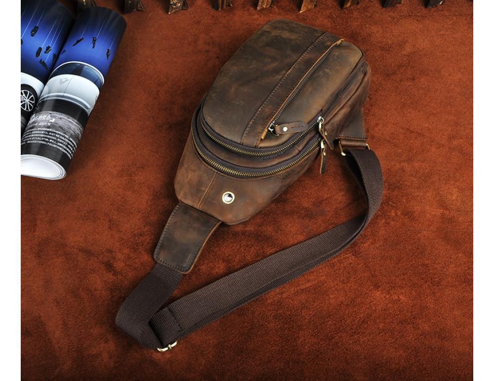 Мужская сумка на плечо Tiding Bag M37-XB010C Коричневая - Фото № 6