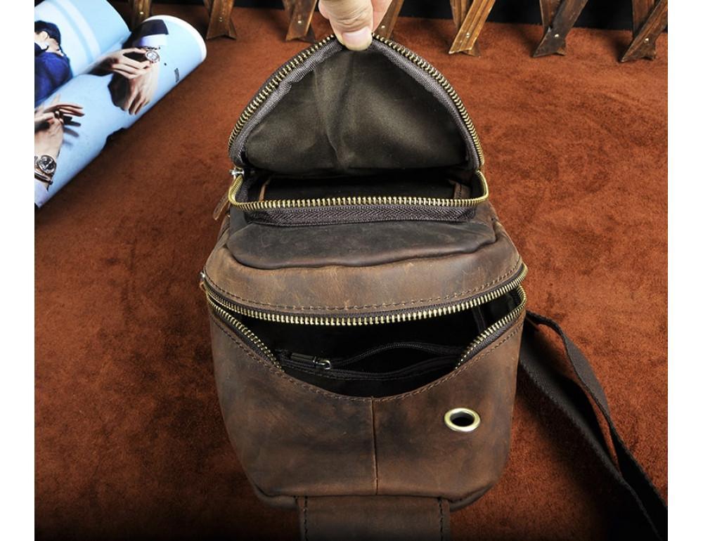 Мужская сумка на плечо Tiding Bag M37-XB8008C Коричневая - Фото № 5