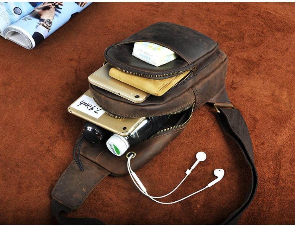 Мужская сумка на плечо Tiding Bag M37-XB8008C Коричневая - Фото № 4