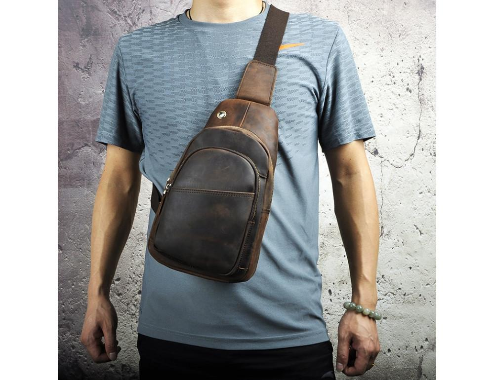 Мужская сумка на плечо Tiding Bag M37-XB8008C Коричневая - Фото № 2
