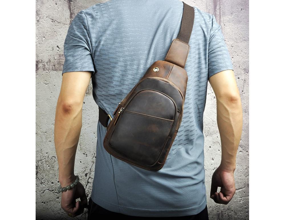 Мужская сумка на плечо Tiding Bag M37-XB8008C Коричневая - Фото № 3