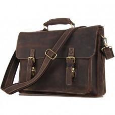 Мужской кожаный портфель TIDING BAG 7205R темно-коричневый