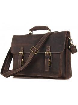 Чоловічий шкіряний портфель TIDING BAG 7205R темно-коричневий
