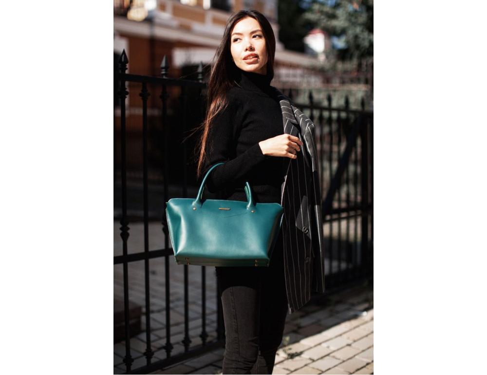 Кожаная женская сумка Blanknote BN-BAG-24-malachite малахит - Фото № 7