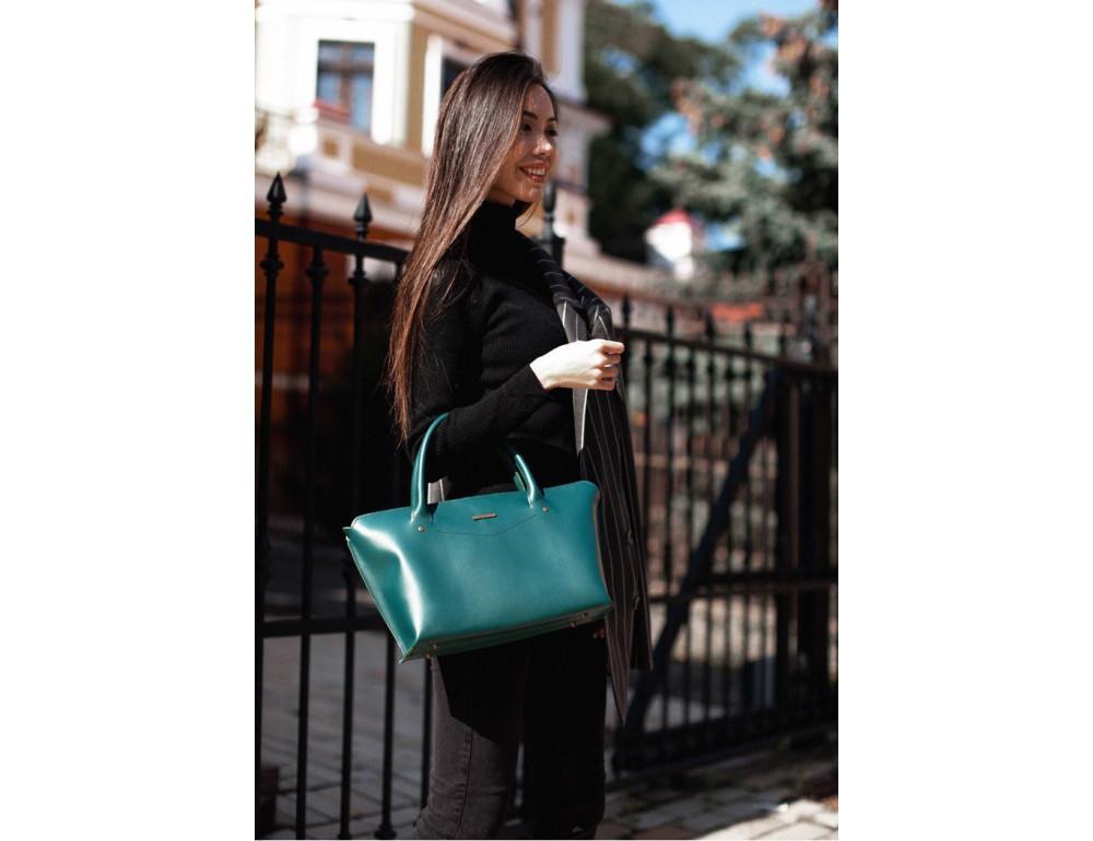Кожаная женская сумка Blanknote BN-BAG-24-malachite малахит - Фото № 9