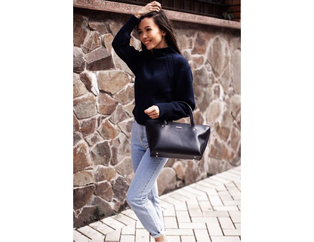 Кожаная женская сумка Blanknote BN-BAG-24-navy-blue тёмно-синий - Фото № 8
