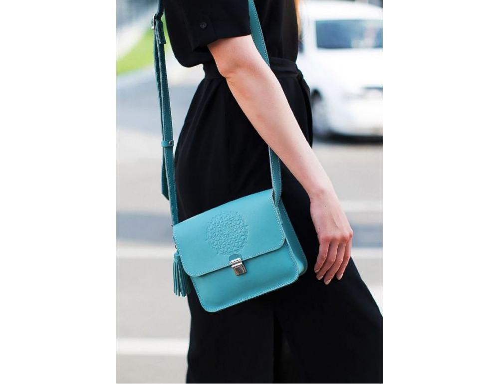 Бирюзовая кожаная сумочка Blanknote BN-BAG-3-tiffany - Фото № 2