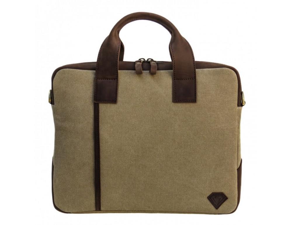 Комбинированная сумка из кожи и ткани Black Diamond BDtM18Ccrh-pes коричневая - Фото № 2