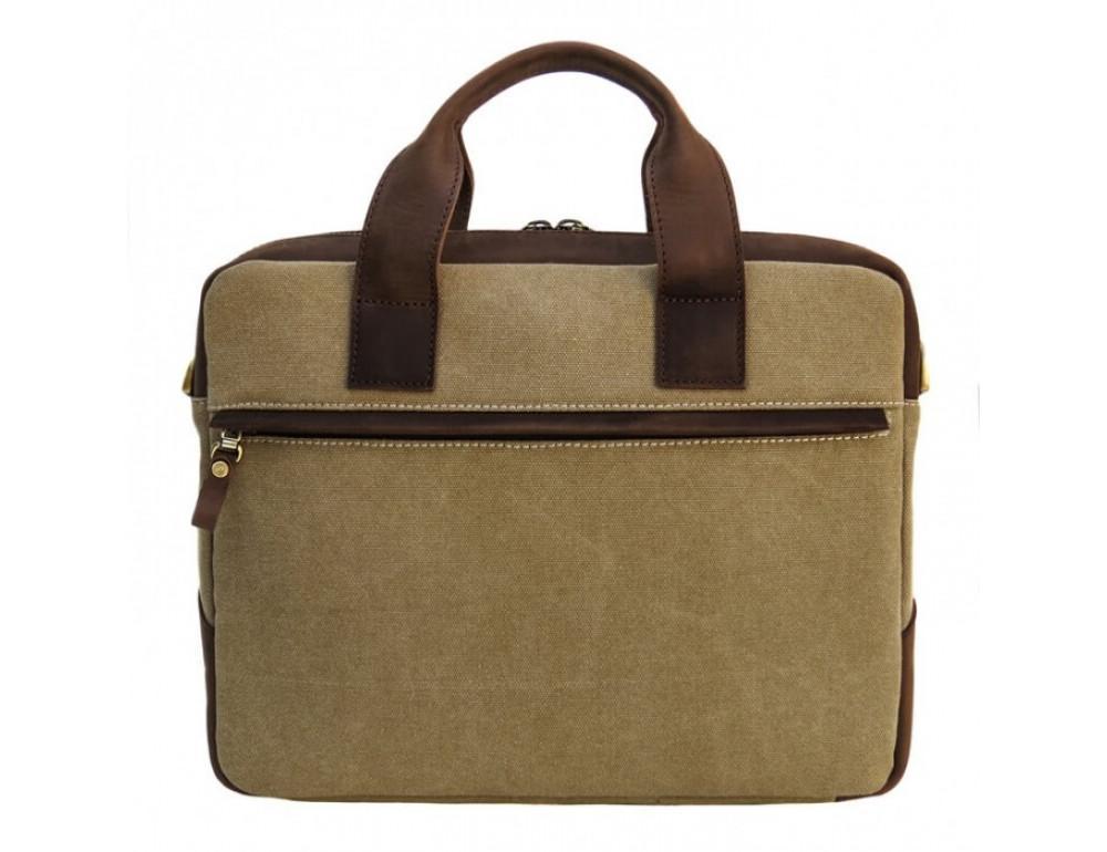 Комбинированная сумка из кожи и ткани Black Diamond BDtM18Ccrh-pes коричневая - Фото № 3
