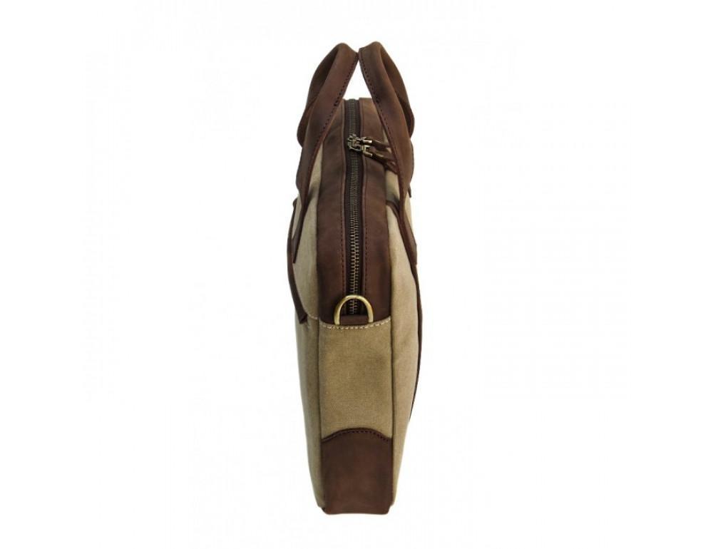 Комбинированная сумка из кожи и ткани Black Diamond BDtM18Ccrh-pes коричневая - Фото № 4