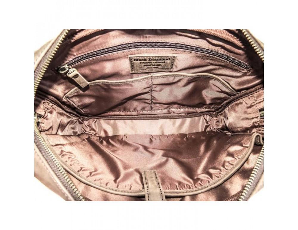 Комбинированная сумка из кожи и ткани Black Diamond BDtM18Ccrh-pes коричневая - Фото № 6