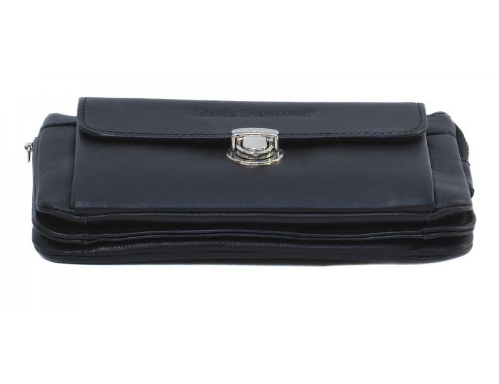 Мужской кожаный клатч Black Diamond BD9A чёрный - Фото № 5