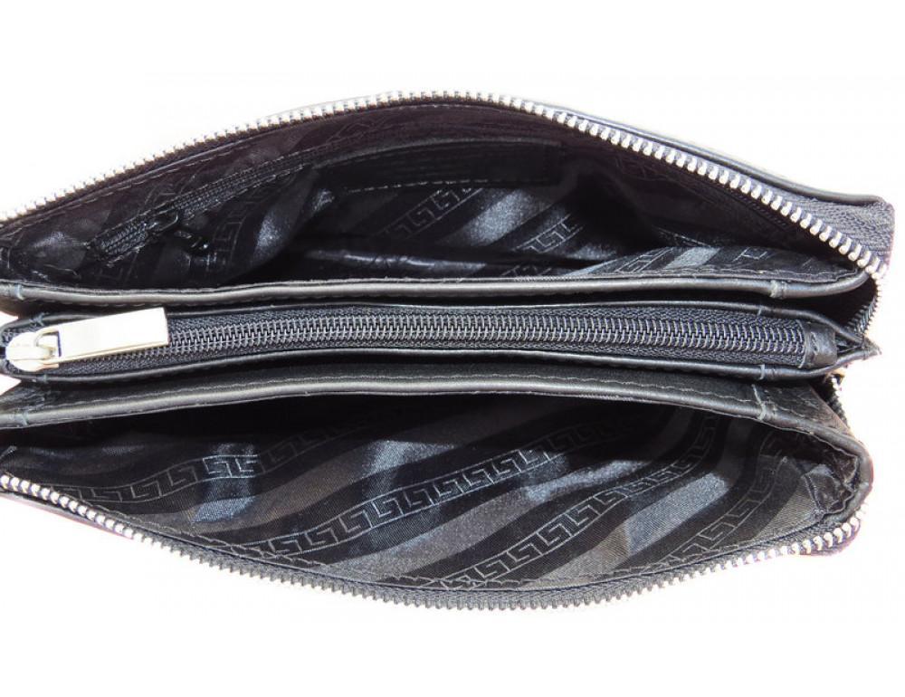 Мужской кожаный клатч Black Diamond BD9A чёрный - Фото № 6