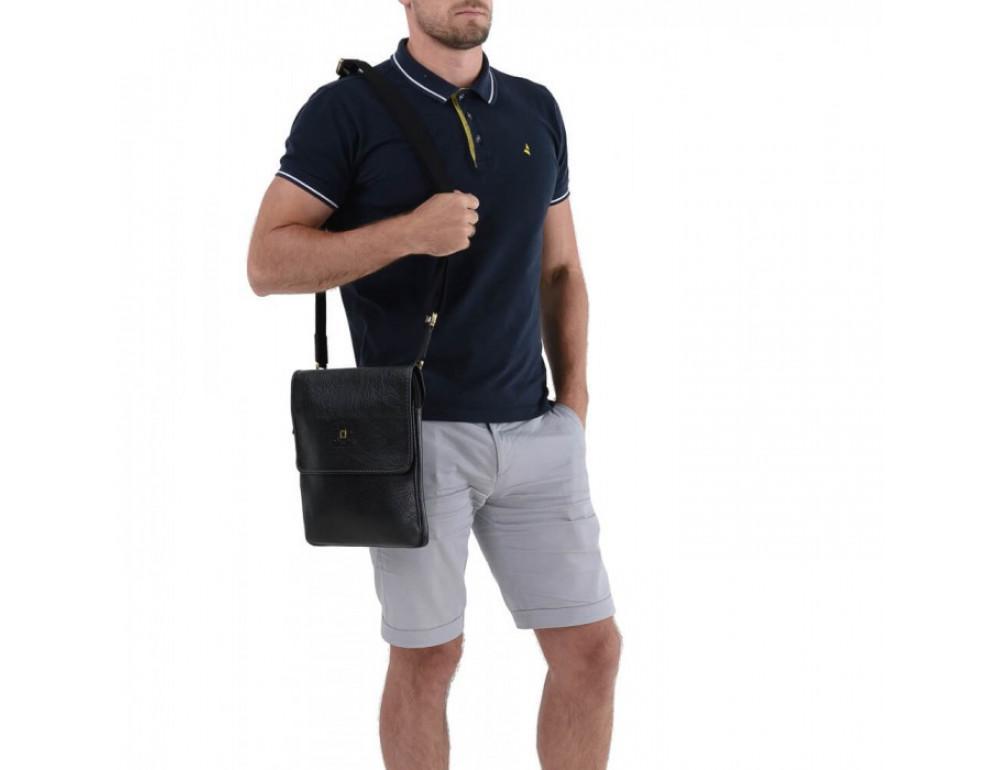 Практичный кожаный мессенджер Tifenis TF69815-9A чёрный - Фото № 3