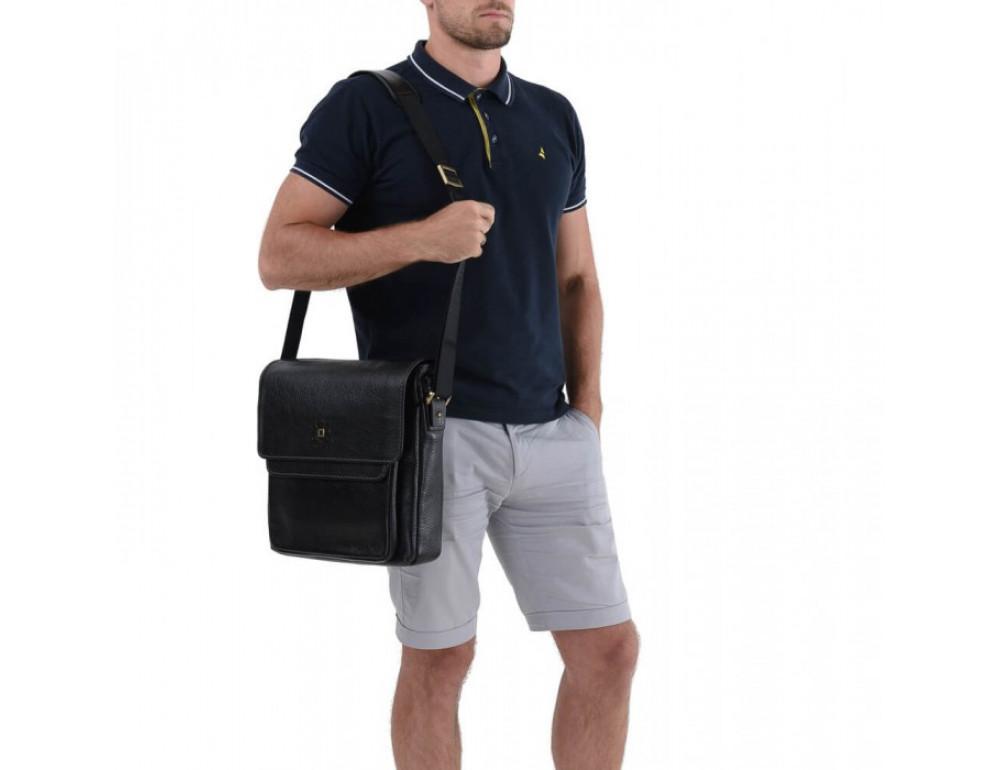 Вместительный кожаный мессенджер Tifenis TF69815-6A чёрный - Фото № 4
