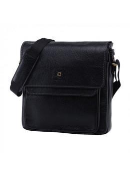 Вместительный кожаный мессенджер Tifenis TF69815-6A чёрный
