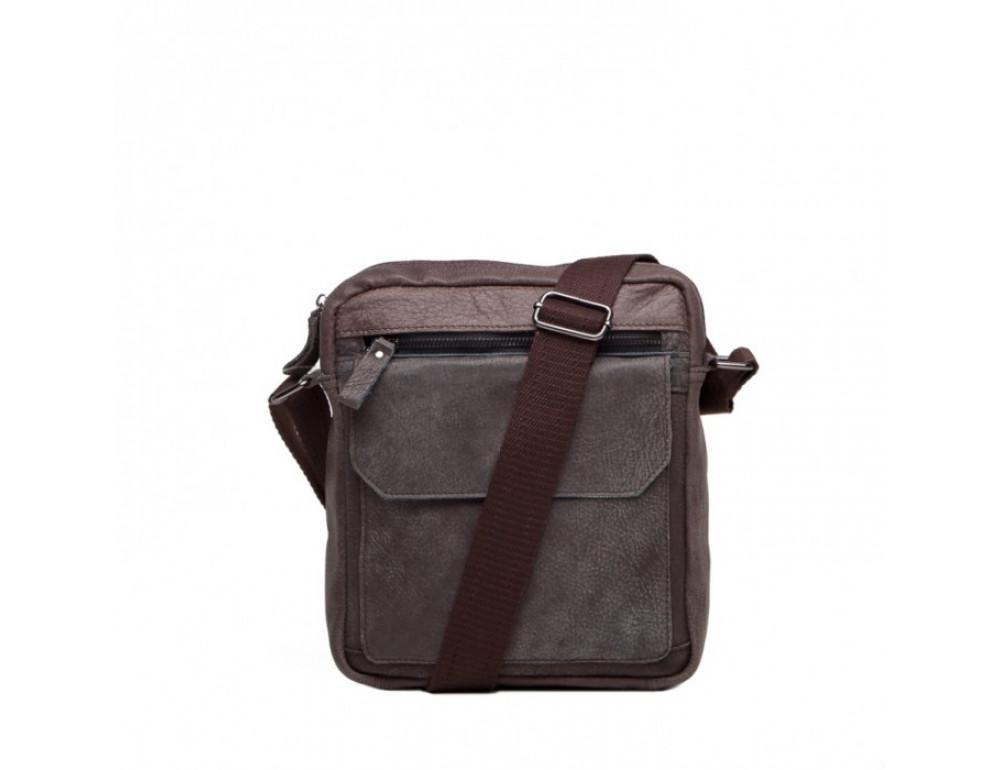 Кожаная сумка через плечо Tiding Bag M41-8264DB серая - Фото № 2