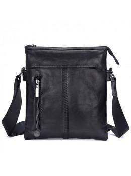 Вместительная кожаная сумка через плечо Tiding Bag 80261A черная