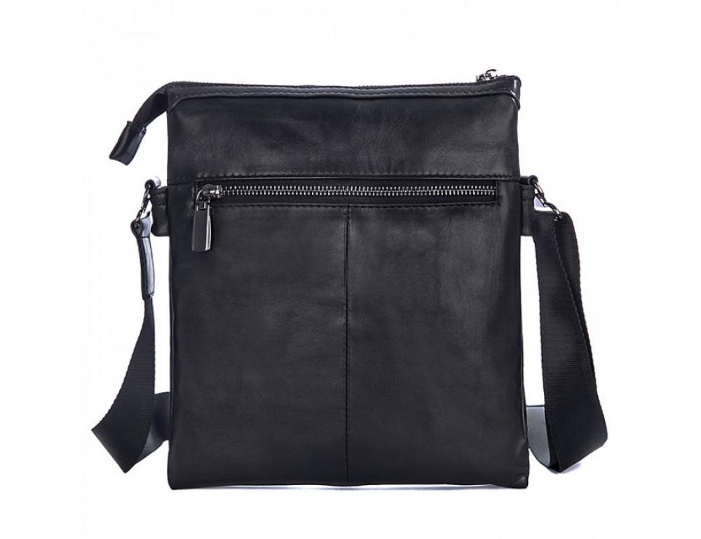 Вместительная кожаная сумка через плечо Tiding Bag 80261A черная - Фото № 2