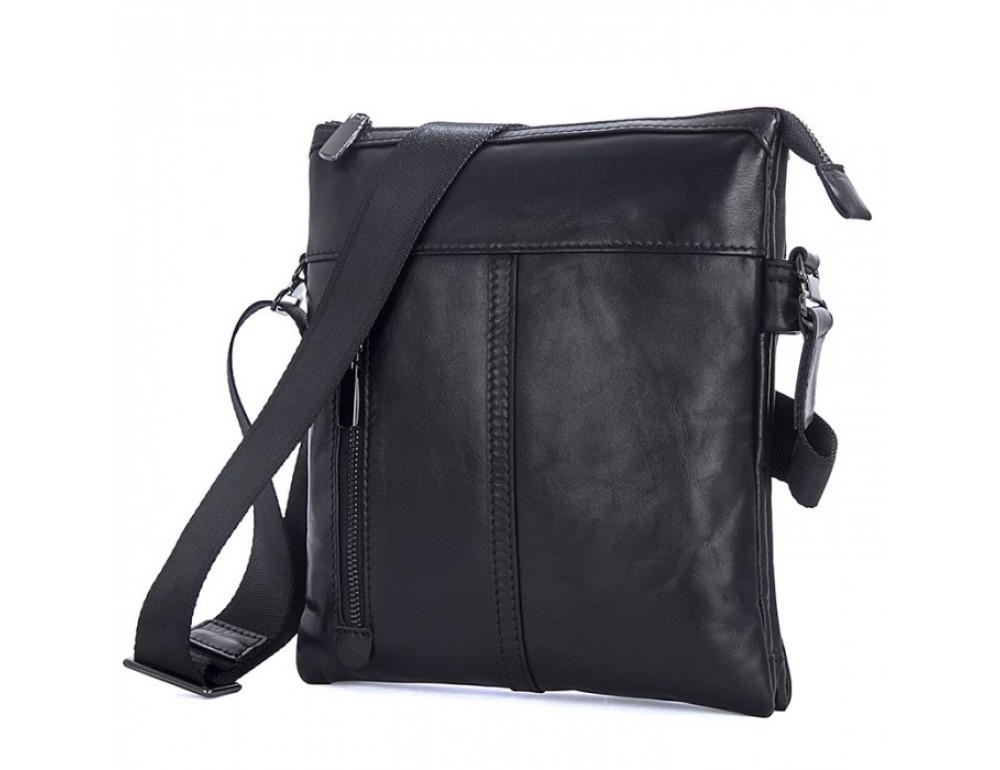 Вместительная кожаная сумка через плечо Tiding Bag 80261A черная - Фото № 3