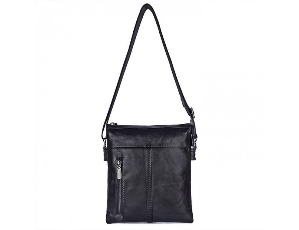 Вместительная кожаная сумка через плечо Tiding Bag 80261A черная - Фото № 4