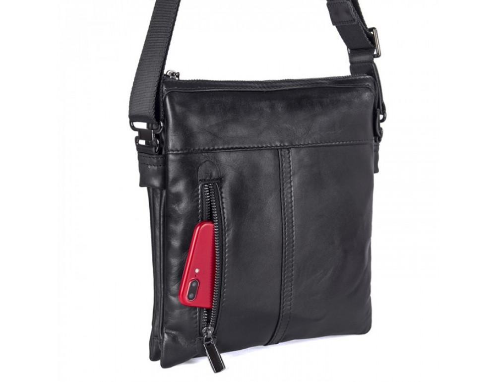 Вместительная кожаная сумка через плечо Tiding Bag 80261A черная - Фото № 5