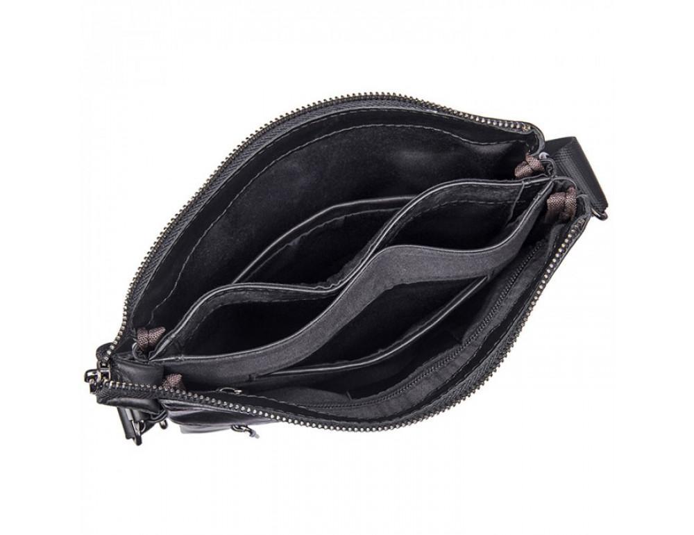 Вместительная кожаная сумка через плечо Tiding Bag 80261A черная - Фото № 6