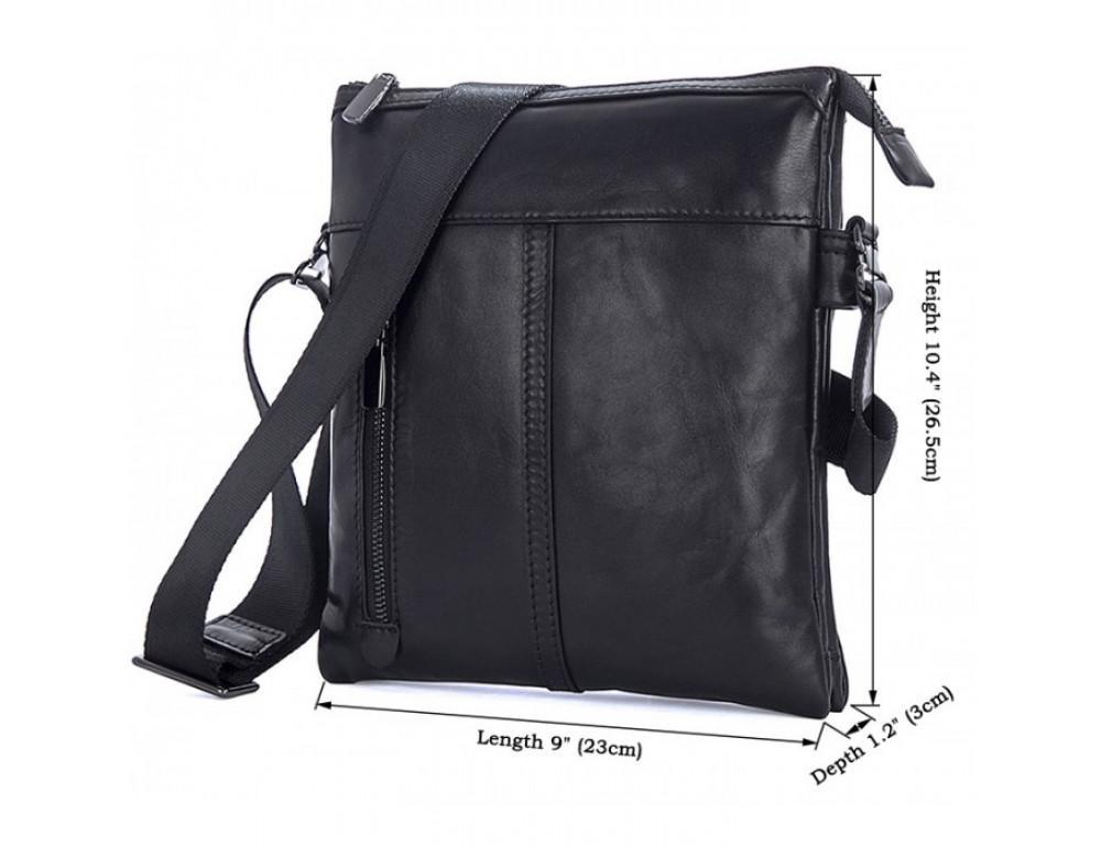 Вместительная кожаная сумка через плечо Tiding Bag 80261A черная - Фото № 9