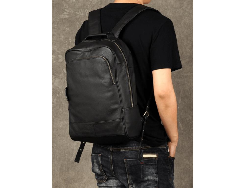 Чёрный кожаный рюкзак большой Bexhill BX-883A - Фото № 2